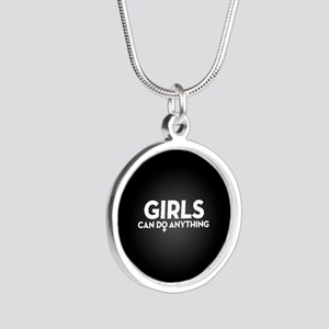Girls Can Do Anything Silver Round Necklace