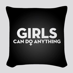 Girls Can Do Anything Woven Throw Pillow