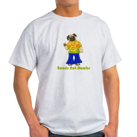Bones Not Bombs Hippie Pug Light T-Shirt