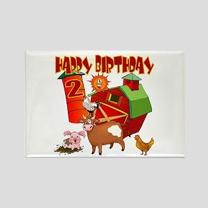 Barnyard 2nd Birthday Rectangle Magnet