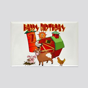 Barnyard 7th Birthday Rectangle Magnet