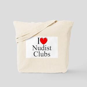 """""""I Love (Heart) Nudist Clubs"""" Tote Bag"""