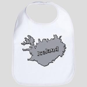 Grey Iceland On Map Baby Bib