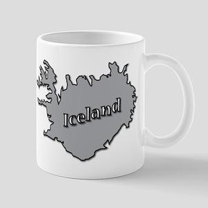Grey Iceland On Map Mugs