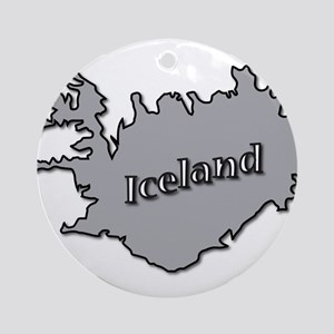 Grey Iceland On Map Round Ornament
