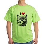 I Love Pussy Green T-Shirt