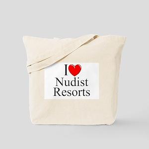 """""""I Love (Heart) Nudist Resorts"""" Tote Bag"""