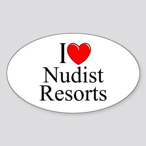 """I Love (Heart) Nudist Resorts"" Oval Sticker"