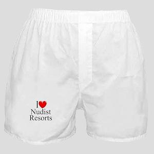 """I Love (Heart) Nudist Resorts"" Boxer Shorts"