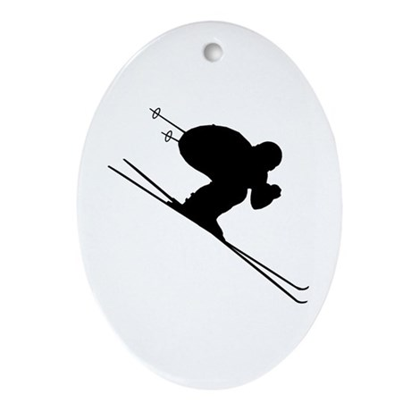 DOWNHILL SKIER Oval Ornament