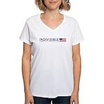 Women's V-Neck T-Shirt Rectangle Logo