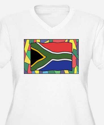 South Africa Flag On Stained Gla Plus Size T-Shirt