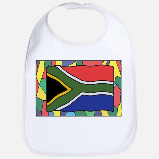 South Africa Flag On Stained Glass Baby Bib
