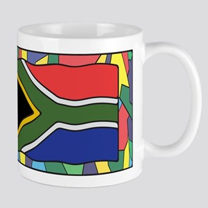 South Africa Flag On Stained Glass Mugs