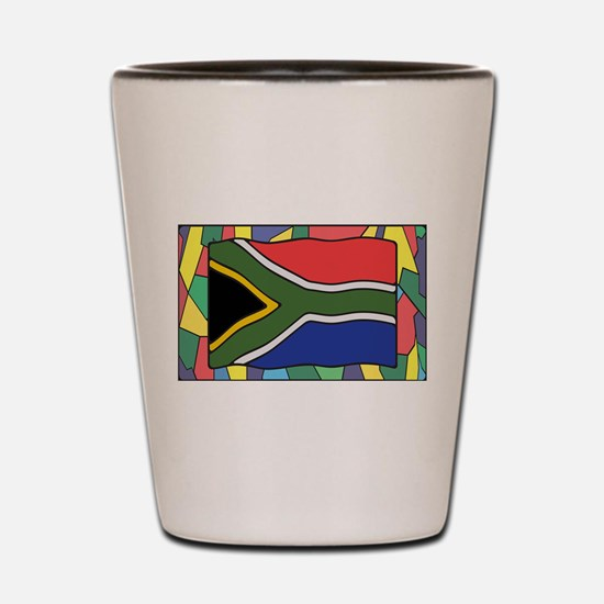 South Africa Flag On Stained Glass Shot Glass