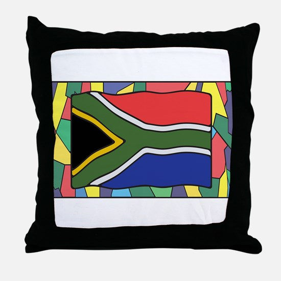 South Africa Flag On Stained Glass Throw Pillow