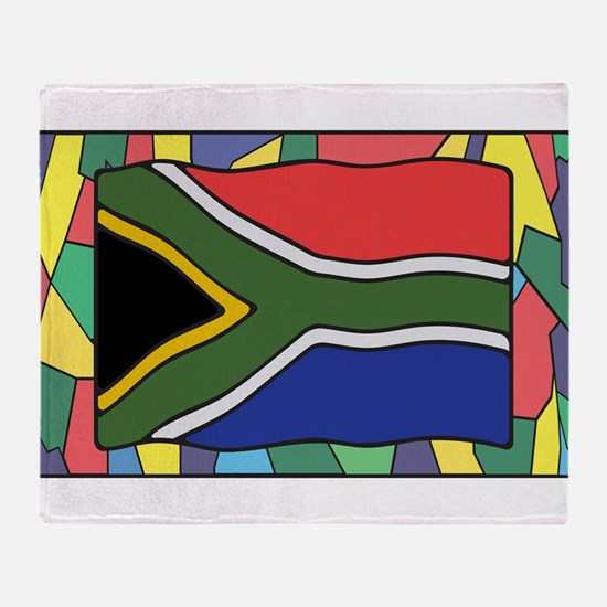 South Africa Flag On Stained Glass Throw Blanket