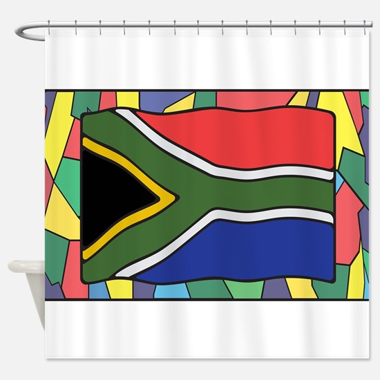 South Africa Flag On Stained Glass Shower Curtain