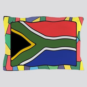 South Africa Flag On Stained Glass Pillow Case