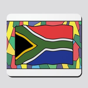 South Africa Flag On Stained Glass Mousepad