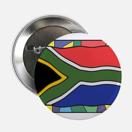 "South Africa Flag On Stained Glass 2.25"" Button"