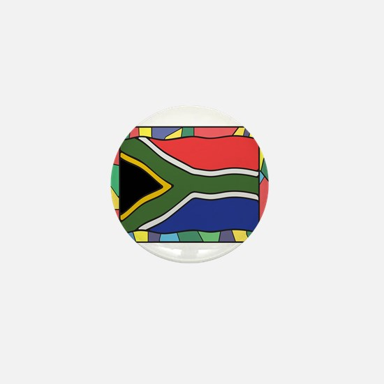 South Africa Flag On Stained Glass Mini Button
