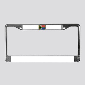 South Africa Flag On Stained G License Plate Frame