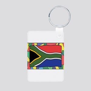 South Africa Flag On Stained Glass Keychains