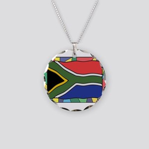 South Africa Flag On Stained Necklace Circle Charm