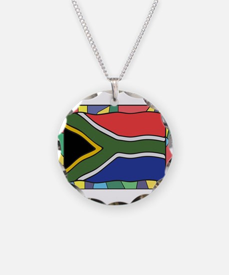 South Africa Flag On Stained Necklace