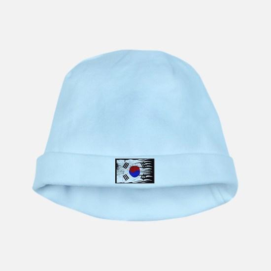 Wavy South Korea Flag Grunged Baby Hat