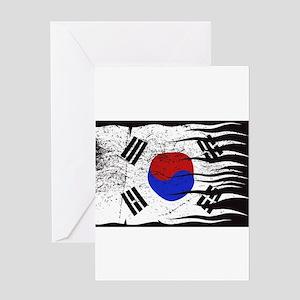 Wavy South Korea Flag Grunged Greeting Cards