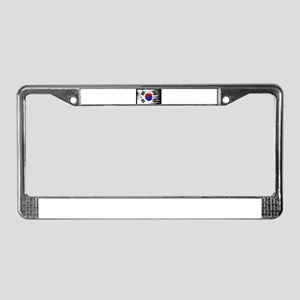 Wavy South Korea Flag Grunged License Plate Frame