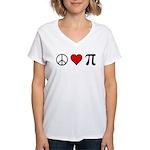 Peace, Love, and Pi Women's V-Neck T-Shirt
