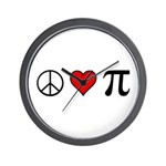 Peace, Love, and Pi Wall Clock