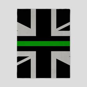 British Flag: Thin Green Line Twin Duvet Cover