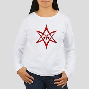 Red Curved Hexagram Women's Long Sleeve T-Shirt