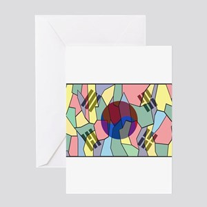 South Korea Stained Glass Window Greeting Cards