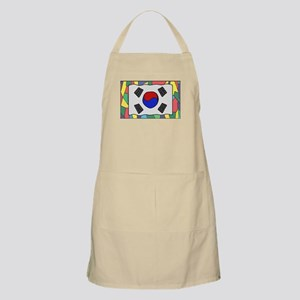 South Korea Flag On Stained Glass Light Apron