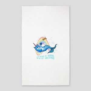 id rather be swimming with the unicatmaid Area Rug