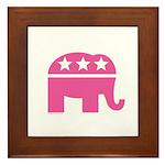 Republican Pink Elephant Logo Framed Tile
