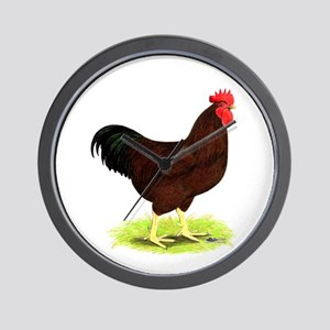 Rhode Island Red Rooster Wall Clock
