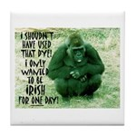 GREEN IRISH GORILLA Tile Coaster