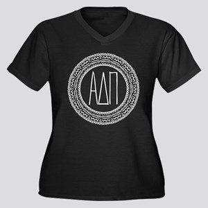 Alpha Delta Women's Plus Size V-Neck Dark T-Shirt