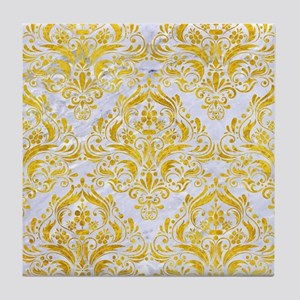 DAMASK1 WHITE MARBLE & YELLOW MARBLE Tile Coaster
