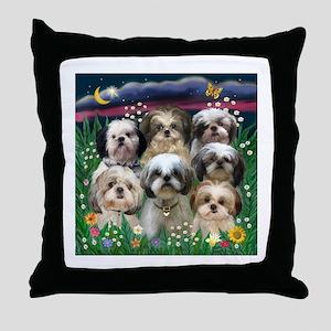 7 Shih Tzu Darlings Throw Pillow