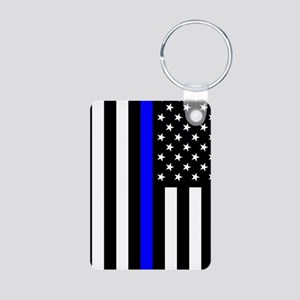 U.S. Flag: Thin Blue Line Aluminum Photo Keychain