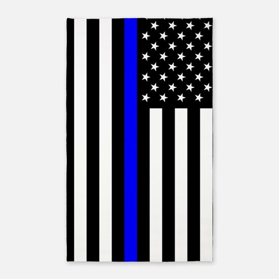 U.S. Flag: Thin Blue Line Area Rug