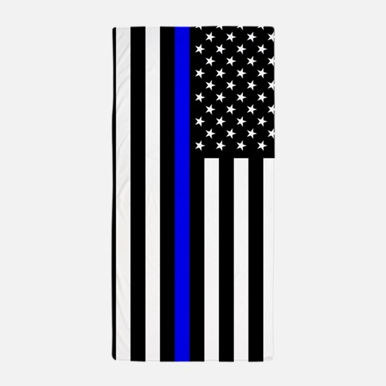 U.S. Flag: Thin Blue Line Beach Towel