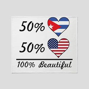 50% Cuban 50% American 100% Beautiful Throw Blanke
